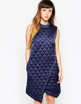 House of Holland Quilted Silk Wrap Dress