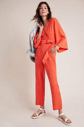 Genoveva Tie-Front Jumpsuit By Amadi in Orange Size XS