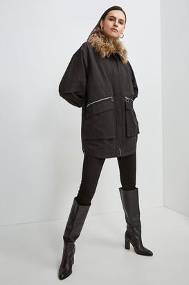 Karen Millen Multi Way Removable Faux Fur Lined Parka