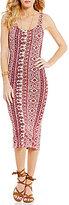 Billabong Share Joy Printed Knit Sleeveless Midi Dress