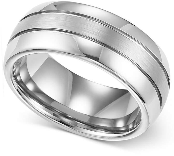 Macy's Triton Men's Ring, 8mm White Tungsten 3-Row Wedding Band