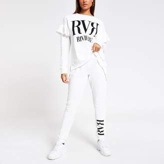 River Island Womens Cream frill side loose fit joggers