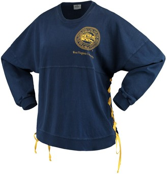 Unbranded Women's Navy West Virginia Mountaineers Chunky Side Lace-Up Spirit Jersey T-Shirt
