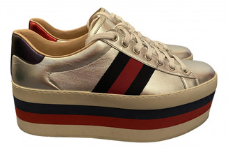 Gucci Ace Silver Leather Trainers