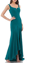 Carmen Marc Valvo Scoop Neck Hi Lo Gown