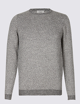 M&S Collection Wool Blend Textured Crew Neck Jumper