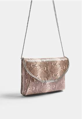 Topshop Chain Clutch Bag - Nude
