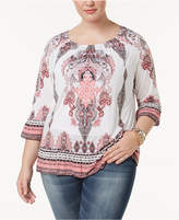 INC International Concepts Plus Size Paisley-Print Peasant Top, Created for Macy's