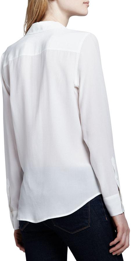 Equipment Brett Button-Up Blouse, White