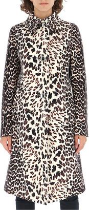 Prada Leopard Print Single-Breasted Coat