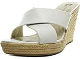 Anne Klein Waleigh Women Open Toe Leather White Wedge Heel.