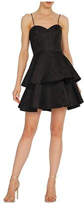 ML Monique Lhuillier Sleeveless Jacquard Dress w/ Ruffled Tiers (Jet) Women's Dress