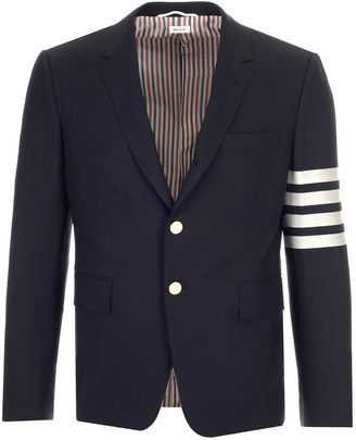 Thom Browne 4 Bar Anchor Motif Embossed Buttoned Blazer