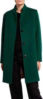 Fleurette Mandarin-Collar Covered-Placket Wool Coat