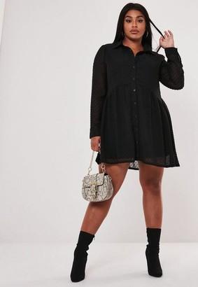 Missguided Plus Size Black Dobby Smock Shirt Dress