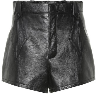 Saint Laurent High-waisted leather shorts