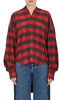 Balenciaga Women's Plaid Flannel Oversized Tieneck Shirt