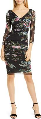 Fuzzi Floral Print Mesh Faux Wrap Dress