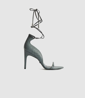 Reiss COCO LEATHER STRAPPY WRAP SANDALS Grey