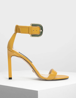 Charles & Keith Leather Buckle Strap Detail Sandals