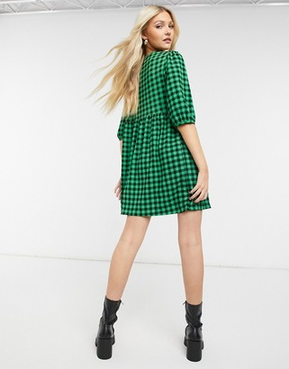 New Look gingham baby doll mini dress in green
