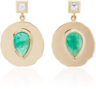 Azlee Modern Byzantine Emerald and Diamond Coin Earrings