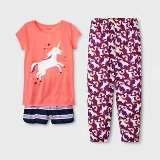Cat & Jack Girls' Unicorn Print 3pc Pajama Set - Cat & JackTM Peach L