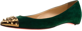 Christian Louboutin Geen Suede And Metallic Gold Spike Cap Toe Geo Pointed Toe Ballet Flats Size 37