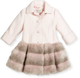 Helena Faux-Fur-Trim Button-Front Peacoat, Light Pink, Size 2-6
