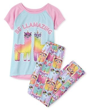 The Children's Place The Childrens Place Short Sleeve High-Low 'Sleeping Beauty' Tie-Dye Pajama Pant Set (Big Girls)