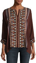 Johnny Was Cenote Button-Front Georgette Blouse W/ Embroidery