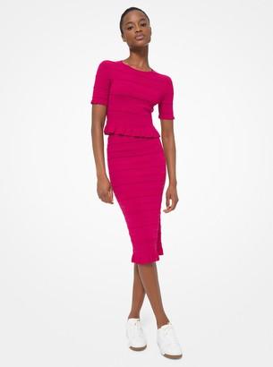 MICHAEL Michael Kors Ruffle Trim Textured Stretch Viscose Skirt