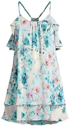In Bloom Songbird Ruffled Floral Chiffon Chemise