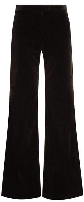 Goat Countess Wide Leg Stretch Cotton Velvet Trousers - Womens - Black