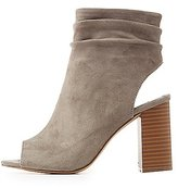Charlotte Russe Ruched Ankle Peep Toe Booties