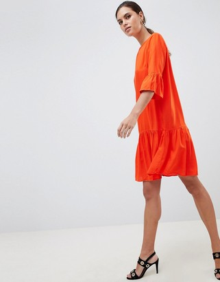 Y.A.S fluted sleeve drop hem mini dress in orange