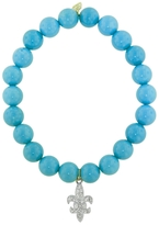 Sydney Evan Diamond Fleurdelis Charm On Turquoise Beaded Bracelet