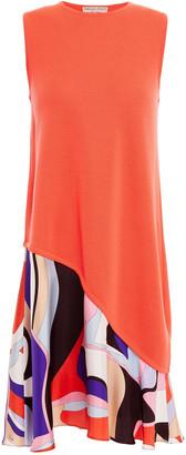 Emilio Pucci Printed Silk Twill-paneled Wool Dress