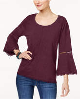 Style&Co. Style & Co Petite Bell-Sleeve Crochet-Trim Top, Created for Macy's