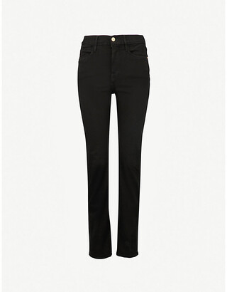 Frame Ladies Black Cotton Le High Straight High-Rise Straight-Leg Jeans, Size: 23