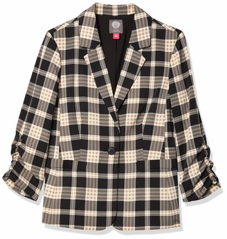 Vince Camuto Women's Ruched Sleeve Highland Plaid Blazer