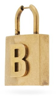 Balenciaga B-logo Padlock Single Earring - Gold