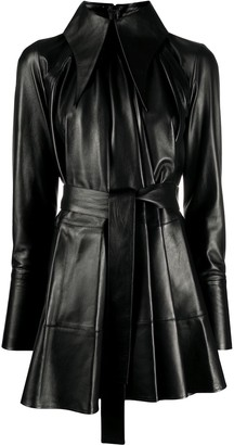 16Arlington Tie-Waist Leather Dress