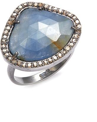 Adornia Fine Jewelry Sasha Sterling Silver Labradorite Diamond Ring