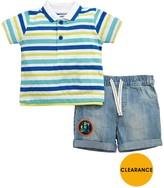 Ladybird Baby Boys Laundered Effect Stripe Polo & Denim Short Set