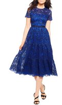 Maggy London Tiered Lace Midi Dress