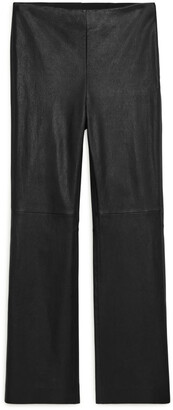 Arket Kick Flare Stretch Leather Trousers