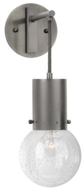 Ivy Bronx Mauriello Outdoor Armed Sconce Fixture Finish: Gun Metal