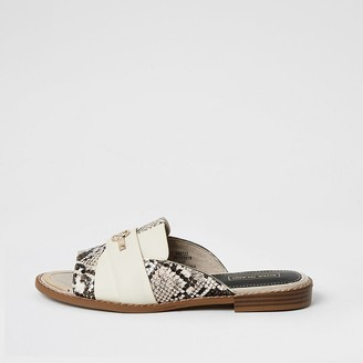 River Island Cream snake print RI slip on sandals