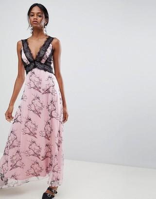 Liquorish Bird Print Maxi Dress With Lace Inserts